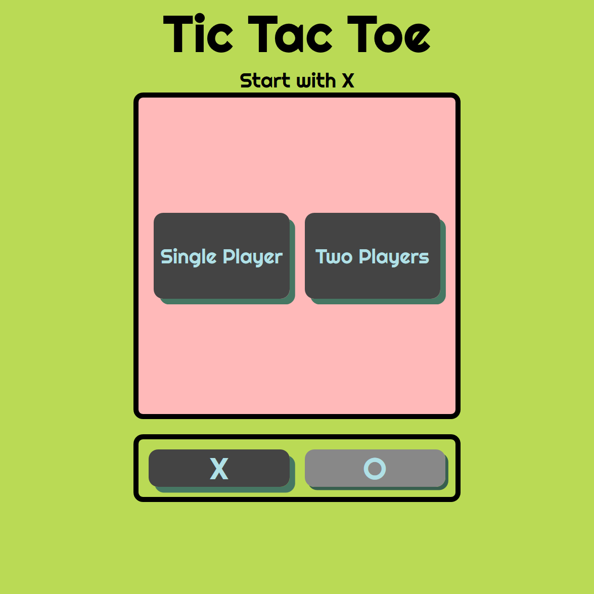 Tic-tac-toe, a classic game made for the modern browser.