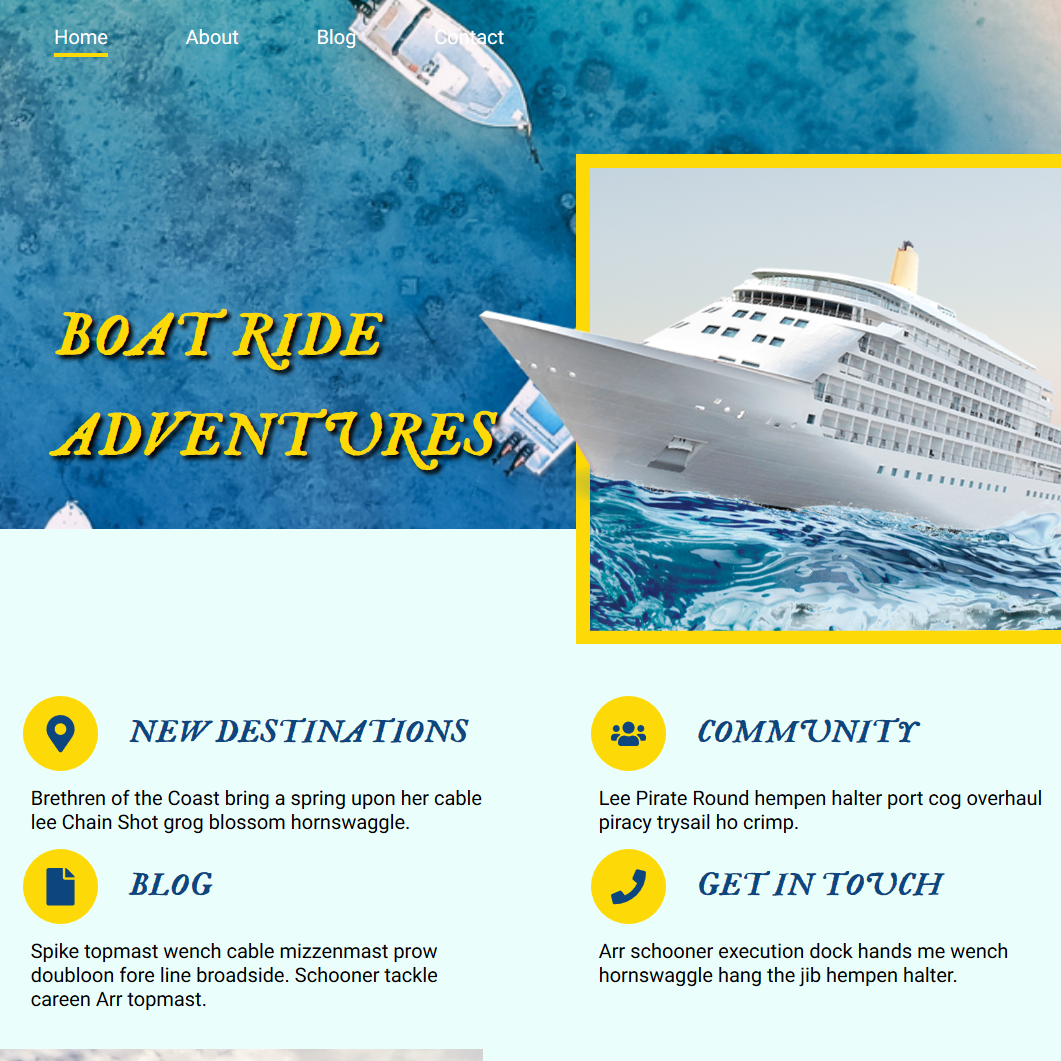 A PSD conversion for the Boad Ride Aventures website.